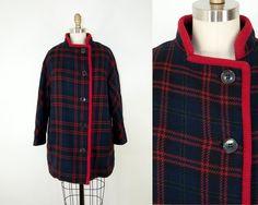 60s Vintage Navy Plaid Coat. Winter Jacket (M) by heirravintage on Etsy