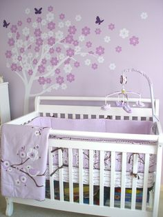 nursery ideas with gray | Lila's Lilac Nursery! | Project Nursery. Greens n browns, circles for leaves/blossoms for wee boy's room :))