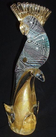 """Murano Art Glass Parrot-Vintage Italian Mid Century Modern-15"""" Tall Venetian"""