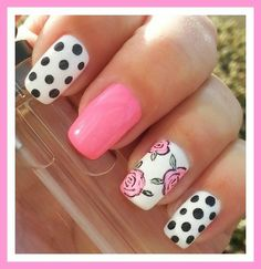Roses & polka dot nail art - visit http://bit.ly/nailsuk now to learn from the best nail artist tutors!