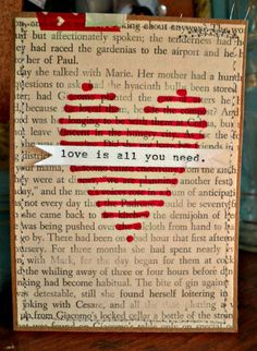 altered book page vday card!.. I think want to do this is an old page of scripture on a canvas.