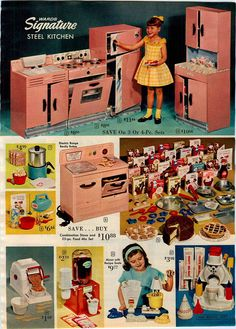 1963 AD Ward's Signiture Steel Play Toy Kitchen Stove Oven Toyaster