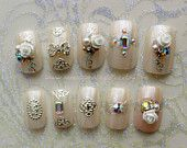 Fairyland. Fairy Kei, Wedding, Bridal, Fake Nails, Press On Nails, False Nails Set, Japanese Nail Art, 3D Fake Nails, Acrylic Nails