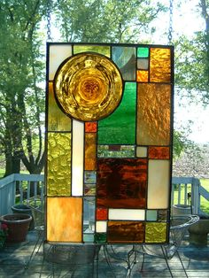 Amber Roundel Prairie Stained Glass Panel Window by islandglass1