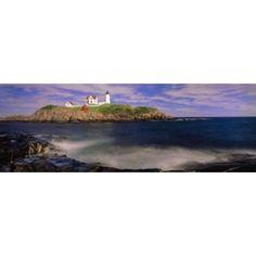Lighthouse at a coast Nubble Lighthouse Cape Neddick York York County Maine USA Canvas Art - Panoramic Images (36 x 13)