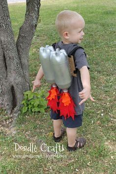 Little Boys Jet Pack, DIY recycled 2 liter bottle jet backpack, Upcycled 'Jet-engine' pack, Recycled 2 liter bottles