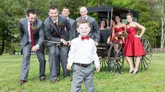 Red and grey. My wedding party. Minus my flower girl. Casual Wedding, Wedding Attire, Wedding With Kids, Bridesmaid Dresses, Wedding Dresses, Red And Grey, My Flower, Dream Wedding, Party