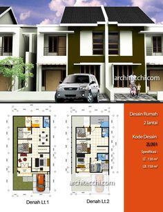 Desain Rumah 2 Lantai (2L001).    Desain rumah dengan konsep minimalis ini memiliki 2 lantai dengan space antara lain : ruang tamu, ruang keluarga, ruang makan, ruang santai, dapur, 5 kamar tidur, 2 kamar mandi, tempat cuci & jemuran. Dengan Luas Tanah = 128 m², Luas Bangunan = 158 m².    Kode Desain = 2L001.