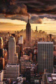 New York City at dusk