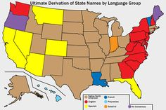 US State Names by Language of Derivation.More etymology maps >>