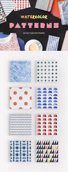 Watercolor Seamless Patterns - download freebie by PixelBuddha