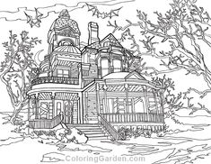 Free Halloween Coloring Pages, Super Coloring Pages, House Colouring Pages, Free Printable Coloring Pages, Adult Coloring Pages, Save For House, Halloween Haunted Houses, House Colors, Drawings