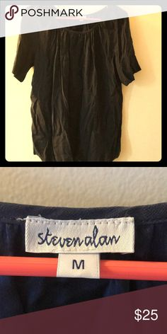 Steven Alan silk navy top Steven Alan silk navy top with elbow length sleeves and flows bottom. Beautiful fabric. Never worn. Steven Alan Tops Blouses