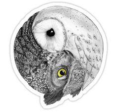 Ying y Yang Yin Yang Tattoos, Owl Tattoo Design, Tattoo Designs, Love Drawings, Animal Drawings, Drawing Owls, Indie Drawings, Drawing Animals, Lechuza Tattoo