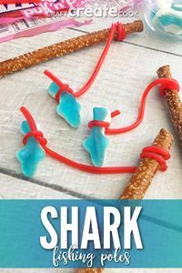 Week Fishing Pole Treats These Shark Week Fishing Pole Treats are a perfect snack for the kids to make and eat during Shark Week!These Shark Week Fishing Pole Treats are a perfect snack for the kids to make and eat during Shark Week! Shark Birthday Cakes, Birthday Treats, 2nd Birthday Parties, Ocean Party, Shark Party, Unicorn Party, Shark Snacks, Ocean Snacks, Pirate Snacks