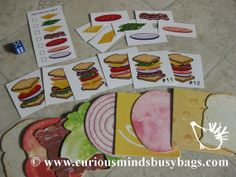 Sandwich Shop - Following Directions Busy Bag. I have the coasters already and can easily make the cards for this activity.