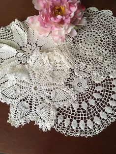 Vintage White Cotton Crocheted Lace Doilies Lot Of 4