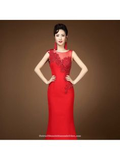 bf00a3d8c7 Asymmetry floral lace evening dress floor length red bridal wedding gown