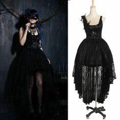 Designer Black Victorian Gothic Wedding Cocktail Party dress