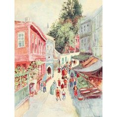 Constantinople 1906 Street scene in Top Khaneh Canvas Art - Warwick Goble (18 x 24)