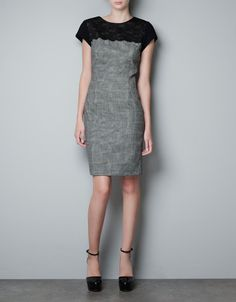 COMBINED LACE DRESS - Dresses - Woman - ZARA