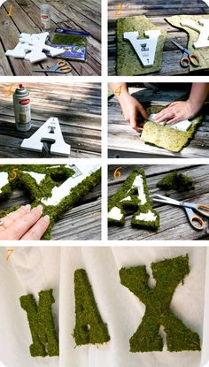 "DIY Moss Letters-I used a thick card board letter. Cute cute for fairy garden to spell ""dream"" or ""wish"" or ""play"""