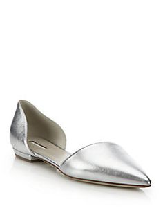 Giorgio Armani - Metallic Leather D'Orsay Evening Flats