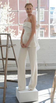White strapless pantsuit   Lela Rose Spring 2017   https://www.theknot.com/content/lela-rose-wedding-dresses-bridal-fashion-week-spring-2017