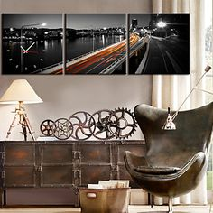 Modern Style Highway Pattern Wall Clock in Canvas 3pcs – AUD $ 79.19
