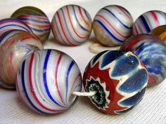Antique seven layer Venetian glass chevron bead with large German marble beads