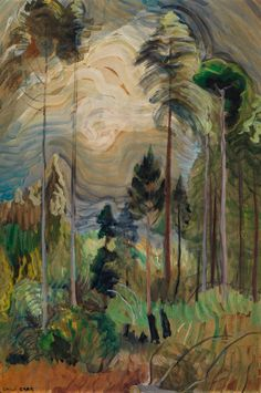 View BC Forest Interior (Circa By Emily Carr; oil on paper on board; Access more artwork lots and estimated & realized auction prices on MutualArt. Emily Carr Paintings, Paintings I Love, Colorful Paintings, Group Of Seven Artists, Group Of Seven Paintings, Post Impressionism, Fine Art Auctions, Famous Art, Canadian Artists