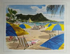 Original+vintage+poster+Waikki+beach+Hawaii+painted+for+United+Airlines+-+W+D+SHAW