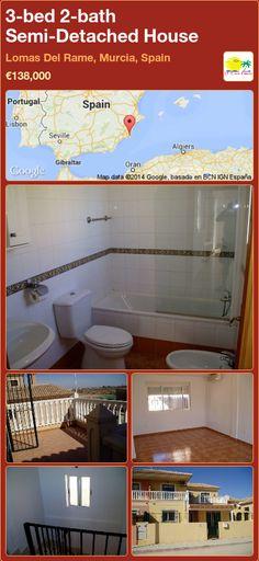 Semi-Detached House for Sale in Lomas Del Rame, Murcia, Spain Semi Detached, Detached House, Portugal, Murcia Spain, New Builds, Property For Sale, Villa, Bath, Building