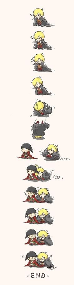 Sanji x Zoro ^^ <- not my ship, but too cute to ignore.