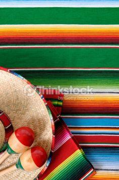Stock-Foto : Mexican serape blanket with sombrero