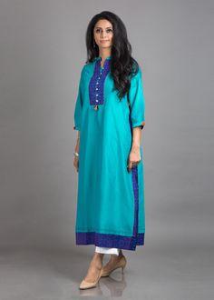 Turquoise Blue & Purple Butter Chanderi with Silk Ikat Tunic Simple Kurta Designs, Silk Kurti Designs, Kurta Designs Women, Blouse Designs, Kurti Styles, Indian Attire, Indian Suits, Indian Wear, Indian Designer Suits