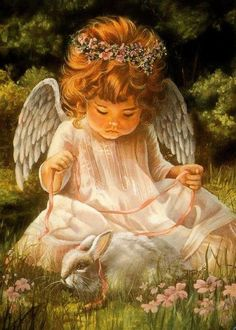 Diamond Embroidery Diy Diamond Painting Cross Stitch Kits Diamond Mosaic Little angel and rabbit Full Square Diamond Embroider Baby Engel, I Believe In Angels, Angel Pictures, Angels Among Us, Angels In Heaven, Heavenly Angels, Diamond Art, Diamond Cross, Guardian Angels