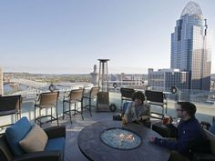 10 great spots to get a drink outside in Cincinnati. Photo: Top of the Park, the rooftop terrace at the Marriott Residence Inn Cincinnati Downtown at the Phelps, expanded this season, adding a second level on a rooftop one floor up. The Enquirer/Kareem Elgazzar