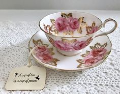 Beautiful vintage china tea cup, made by Royal Chelsea in England. This is a beautiful duet with a batwing handle, lots of gold gilding and a white ground with pink roses on both the cup and saucer. It is in good condition, no chips, cracks or crazing. Please Note: The items I
