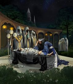 Finwe near his wife Miriel Serinde  Finwë had two wives. His first was Míriel, who died soon after bearing their only child, Curufinwë, who was more commonly called Fëanor. His second wife was Indis, of the Vanyar, who bore him two sons: Fingolfin and Finarfin, and two daughters: Findis and Írimë. All his sons and one daughter were named after himself (Curufinwë, Fingolfin, Finarfin, Findis).
