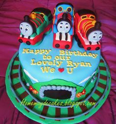 Home May'de Cakes: The Making: Thomas the train and friends (Percy and James) cake
