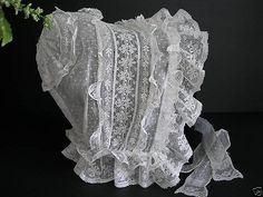 Victorian lace whitework indoor cap... Omagosh, a baby bonnet for us big girls.  I can just see the kids expressions if they saw me making dinner in this.