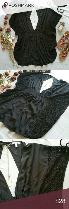 """VICTORIAS SECRET PETITE BLACK CROCHET COVER-UP *SALE IS FOR TOP,ONLY CROCHET PANELS ALONG SIDE SEAM PLUNGING V-NECK IN FRONT & OPEN BACK CUTOUT IN BACK *BODY 100% VISCOSE  *INSERTS  75% POLYESTER 25% COTTON EXCLUSIVE OF DECORATION  *STRETCH WAIST APPROX 22"""" LYING FLAT BUT CAN ACCOMMODATE UP TO 34"""" *DOLEMAN CUT CAN ACCOMMODATE MOST SIZES ACROSS THE BUST  *SHOULDER TO HEM APPROX 29.5"""" *STORED IN NON-SMOKING PET FREE HOME Victoria's Secret Swim Coverups"""