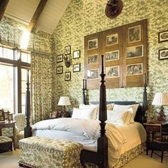 A standing ovation goes to the abundant use of green floral fabric around the walls, bed, bench, and curtains.