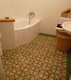 MOZA Cementtiles Manufactory Hungary Corner Bathtub, Hungary, Cement, Tile Floor, Flooring, Bathroom, Washroom, Full Bath, Tile Flooring