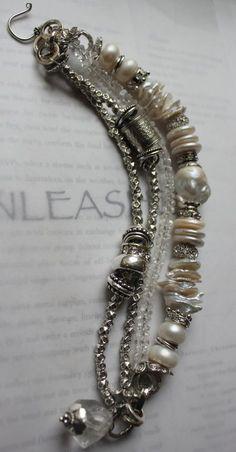 chunky charm bracelet, labradorite bracelet, silver bells bracelet, pearl bracelet by corrine Pearl Jewelry, Boho Jewelry, Beaded Jewelry, Jewelry Bracelets, Jewelery, Vintage Jewelry, Jewelry Design, Pandora Bracelets, Ankle Bracelets