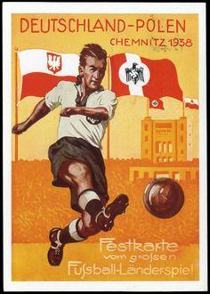 """Festfarbkarte """"Fussball Länderspiel Deutschland-Polen Chemnitz 1938"""""""