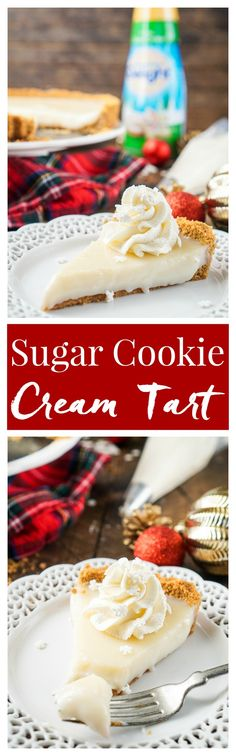 This literally tastes like Christmas, or at least those were the words out of my mother's mouth when she took her first bite! This Sugar Cookie Cream Tart has a sweet smooth filling wrapped in a graham cracker crust that's perfect for the holidays. #FestiveFlavors #Ad: