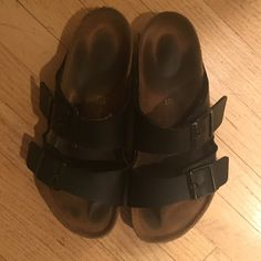 Black leather Birkenstocks Size: 39 or woman's US 8 Lightly worn, they fit perfectly! Just want something new! Birkenstock Shoes Sandals