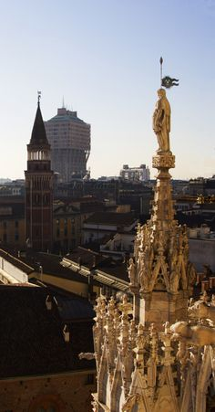 San Gottardo Church and Velasca Tower in #Milan, seen from the #terraces of the #milancathedral on a bright day #duomodimilano